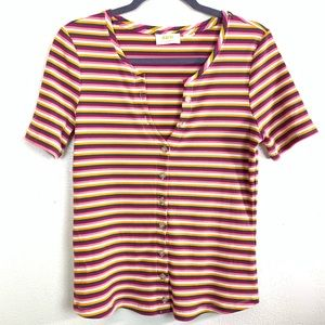 Anthropologie Maeve ribbed striped t shirt